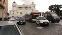 Ancient Roman Palace Rises Above The Traffic Stock Footage