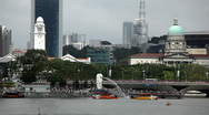 Stock Video Footage of Singapore Skyline, Merlion Park, Esplanade Bridge, Victoria Concert Hall