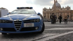 Police Car in Vatican City, Rome (HD) Stock Footage