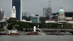 Singapore Skyline, Merlion Park, Esplanade Bridge, Victoria Concert Hall Stock Footage