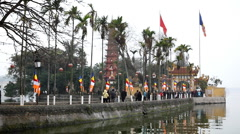 People going in and going out to Tran Quoc Pagoda in Hanoi, Vietnam Stock Footage
