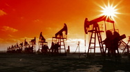 Stock Video Footage of working oil pumps