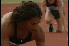 Male runner at the starting line Stock Footage