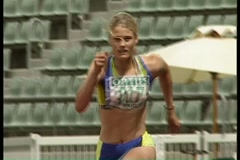 Track and Field: long jump Stock Footage