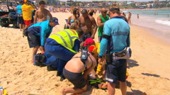 Bondi Beach Drowning Lifesaving Rescue Operation PT3 Stock Footage