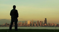 Man looking at downtown skyline skyscraper. Stock Footage