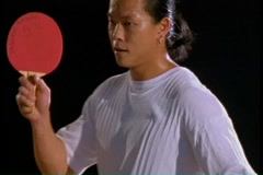 Man in a ping pong match Stock Footage