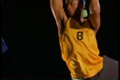 Stock Video Footage of Basketball player slam dunks