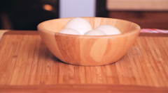 cooking 0008-bowl with eggs - stock footage