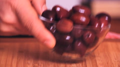 Cooking 0009-small bowl with brown olive Stock Footage