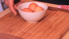 cooking 0017- bowl with eggs - stock footage