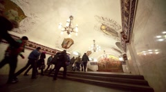 Commuters go from Kievskaya station Stock Footage