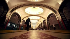 View from floor with garbage on Mayakovskaya station Stock Footage