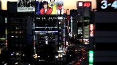 City centre road traffic at night Shinjuku, Tokyo City centre, Japan, Asia Stock Footage