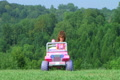 Girl Driving Toy Jeep Footage