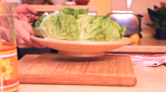 cooking 0032a- bowl with lettuce - stock footage