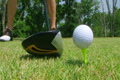 Golfer Teeing Off With Driver Footage