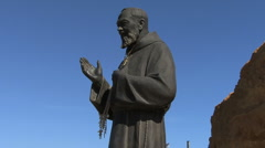 A statue of saint Padre Pio  Stock Footage