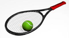 Tennis Racquet Bouncing Ball HD Stock Footage