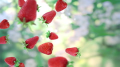 Falling fresh strawberries. Stock Footage