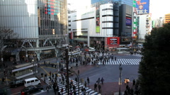 The busiest pedestrian crossing in the World. Shibuya  district Tokyo, Japan  Stock Footage