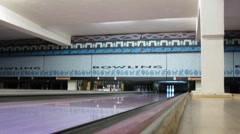 Brunswick pinsetters reset bowling pins in The First club - stock footage