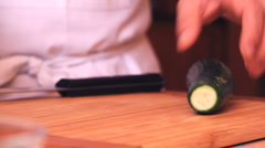 cooking 0043-cutting cucumber - stock footage