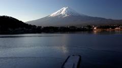 Mt Fuji on Lake Kawaguchi, Japan, Asia - stock footage