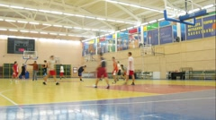 Young men play basketball in Russian State University Stock Footage