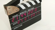 Stock Video Footage of Side view on electronic clapboard, time lapse