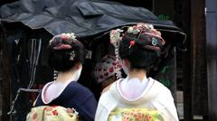 Japanese Geisha girls talking to rickshaw driver,  Japan, Asia Stock Footage