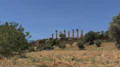 Zooms on temple columns at Agrigento Stock Footage