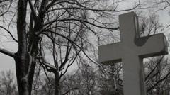 Cemetary-Cross in Winter Stock Footage