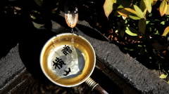 Water Ladle at Religious Temple, Tokyo, Japan, Asia Stock Footage