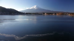 Mt Fuji near the frozen Lake Kawaguchi, Japan, Asia  - stock footage