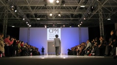 Men demonstrate Slava Zaytsev collection during CPM show Stock Footage
