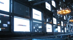 Big video panel consisting from many TV sets, time lapse Stock Footage