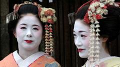 Two beautiful Japanese Geisha girls, Japan, Asia Stock Footage