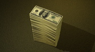 Hundred Dollar Bill Growing Pile HD Stock Footage
