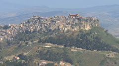 Stock Video Footage of Sicily zooms out from Calascibetta