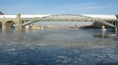 Winter boat ride under Krymsky bridge in Moscow, time lapse Stock Footage