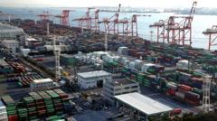 Cargo Container Port, Odaiba, Tokyo, Japan, Asia  Stock Footage