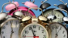 Alarm clocks ringing - stock footage