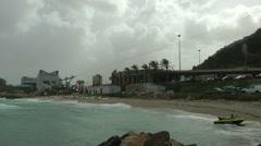 Windsurf storm riders in Mediterranean Sea. Yotveta, the shore. - stock footage