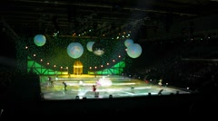 Actors perform during ice show Snow Queen Stock Footage