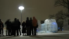 Visitors of Ice Sculpture Festival Vyugovey-2011 - stock footage