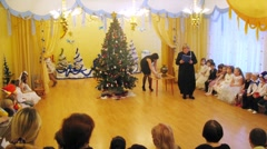 Children perform during New Years party in kindergarten  1041 Stock Footage