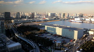 Stock Video Footage of  Elevated view of the harbour area of Odaiba, Tokyo, Japan, Asia