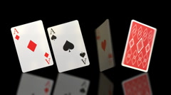 Stock Video Footage of Flipping Aces Playing Cards HD