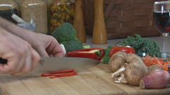Chopping Red Pepper Stock Footage